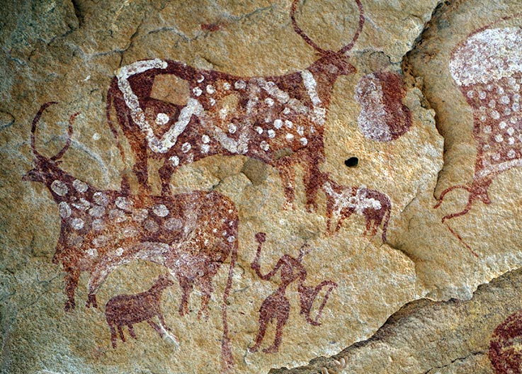 Das Ennedi Massiv, prähistorische Felszeichnungen von Menschen und Rindern, Explore Chad