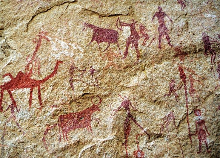Das Ennedi Massiv, prähistorische Felszeichnungen von Kamelen, Rindern und Menschen beim Jagen, Explore Chad