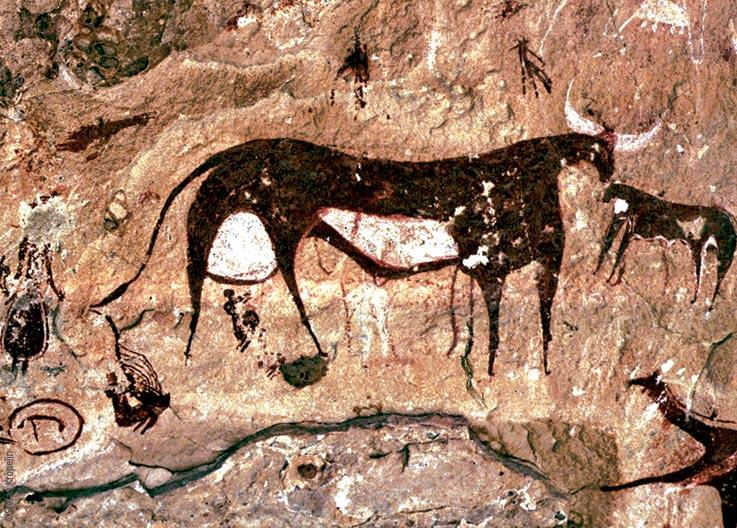 Das Ennedi Massiv, prähistorische Felszeichnungen von Rindern und Menschen, Explore Chad
