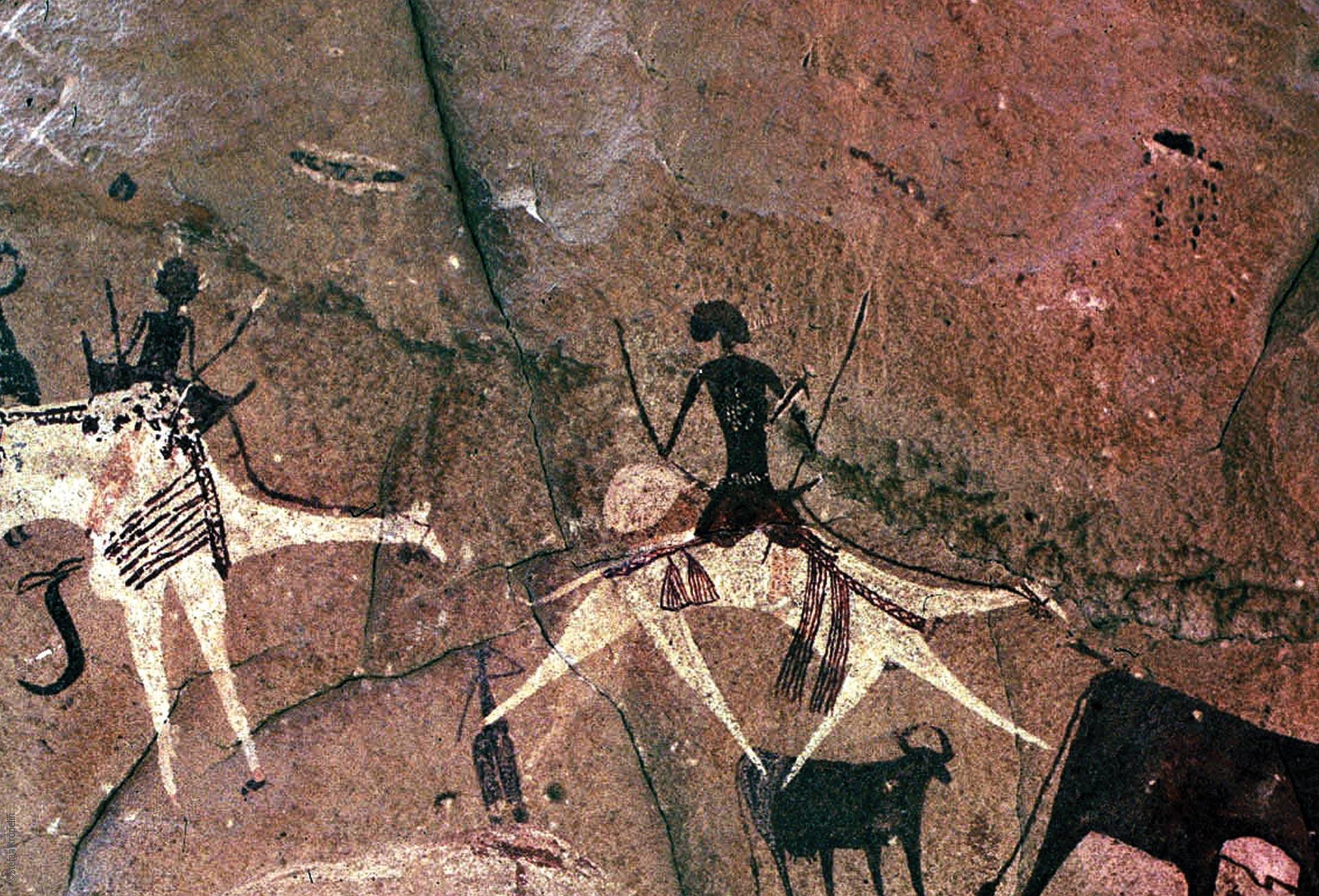 Das Ennedi Massiv, prähistorische Felszeichungen, Reiter auf Kamelen, Explore Chad