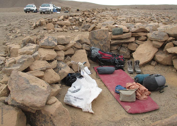 The Tibesti Mountains, sleeping place of an expedition member, Explore Chad