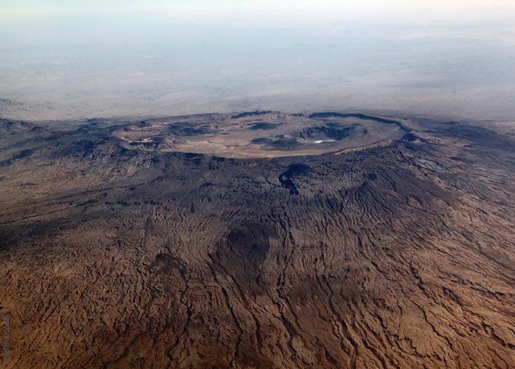 The Tibesti Mountains, Emi Koussi, the highest mountain of the Sahara, aerial photo, Explore Chad